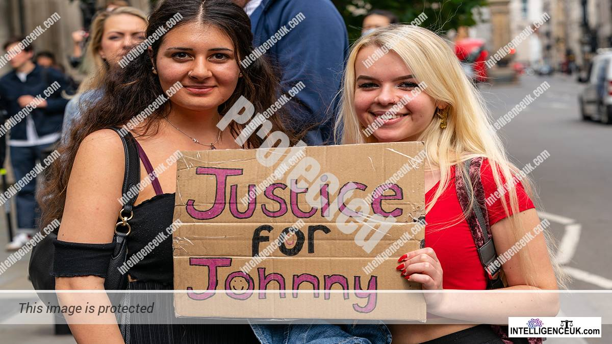 Johnny Depp supporters outside court room in Johnny Depp v The Sun Newspapers case